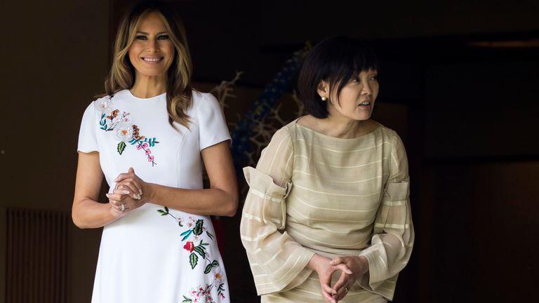 Melania Trump and Akie Abe, wife of Japanese Prime Minister Shinzo Abe