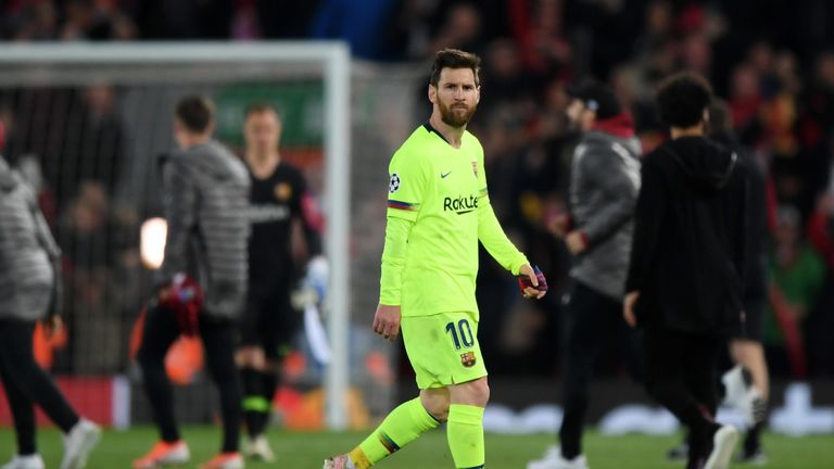 Lionel Messi reacts to the defeat at Anfield