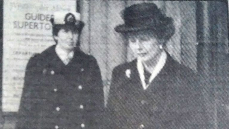 Sioban Clarke pictured helping to protect former PM Margaret Thatcher