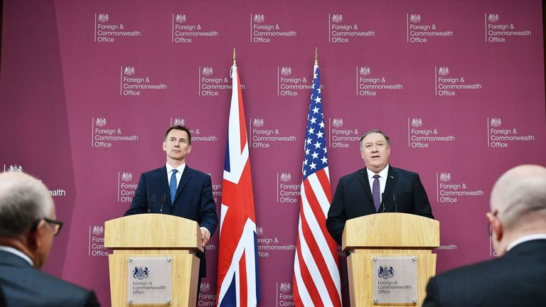 US Secretary of State Mike Pompeo and Jeremy Hunt (L) attend a joint press conference at the Foreign Office