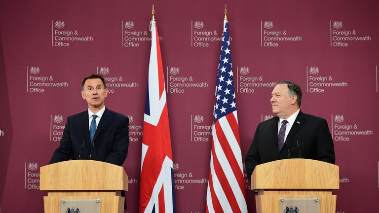 US Secretary of State Mike Pompeo attends a joint press conference with Foreign Secretary Jeremy Hunt