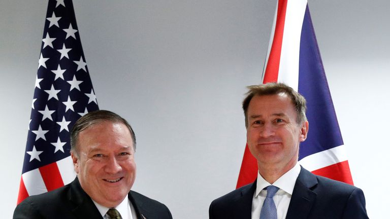 U.S. Secretary of State Mike Pompeo with Jeremy Hunt at the European Council in Brussels