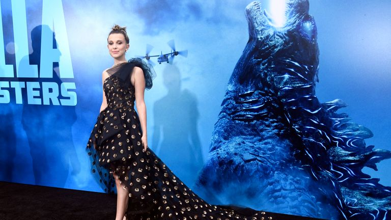 Millie Bobby Brown at a Hollywood premiere of her new movie, Godzilla: King Of The Monsters
