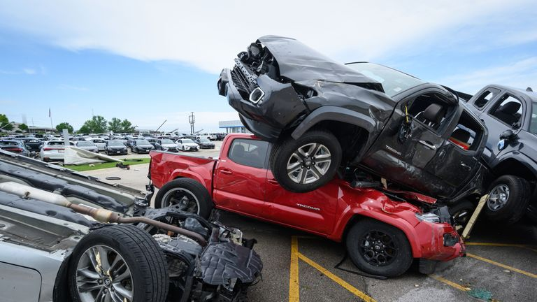 Trucks end up piled on top of each other in Missouri earlier this month