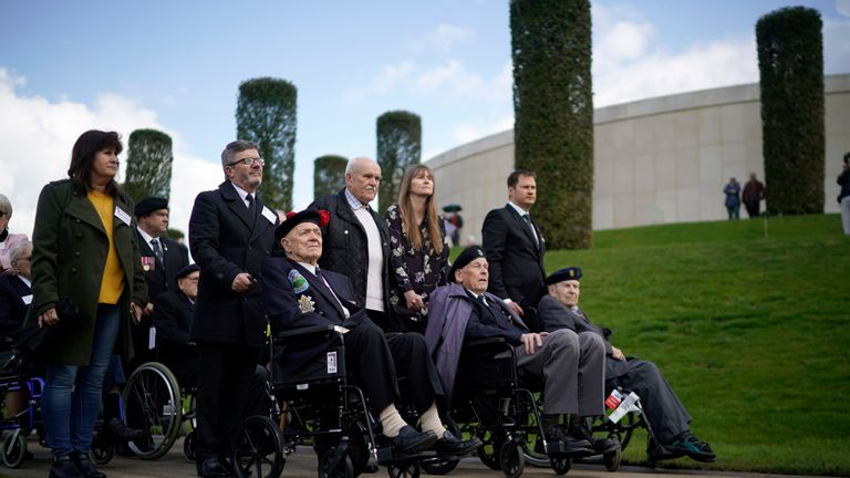 "Battle of Monte Cassino veteran John Clarke MBE (L), aged 95, of Hertfordshire and other Italy campaign veterans take part in the Battle of Monte Cassino commemorative ceremony marking the 75th anniversary of the ""Forgotten Campaign"" at The National Memorial Arboretum on May 11, 2019 in Stafford, England"