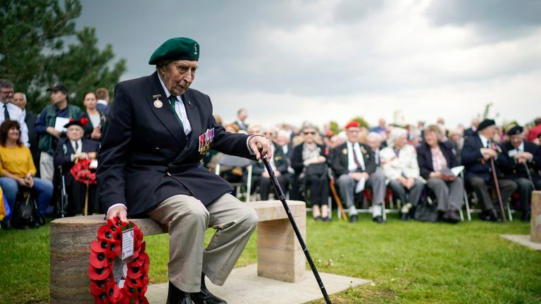 "Battle of Monte Cassino veteran Bryan Woolnough, aged 96, prepares to lay a wreath at the Battle of Monte Cassino memorial during a commemorative ceremony marking the 75th anniversary of the ""Forgotten Campaign"" at The National Memorial Arboretum on May 11, 2019 in Stafford, England"