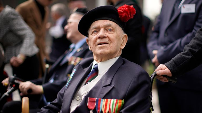 "Battle of Monte Cassino veteran John Clarke MBE, aged 95, of Hertfordshire takes part in the Battle of Monte Cassino commemorative ceremony marking the 75th anniversary of the ""forgotten campaign"" at The National Memorial Arboretum on May 11, 2019 in Stafford, England"