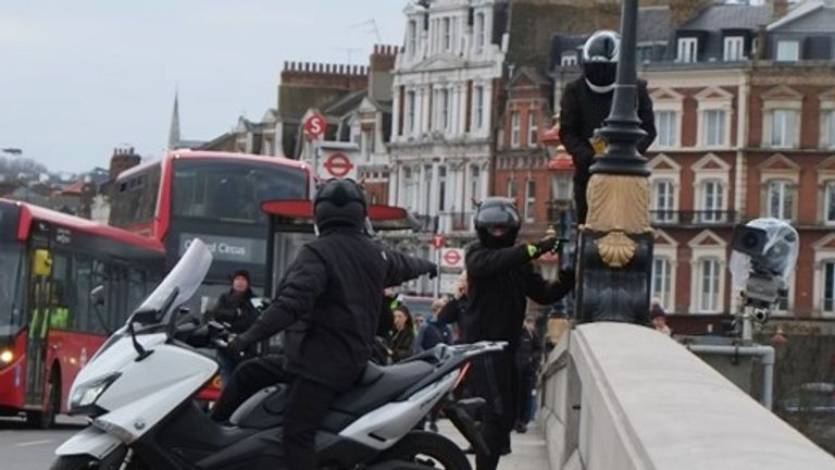The gang stopped traffic and tried to cut cameras from Putney Bridge using an angle grinder