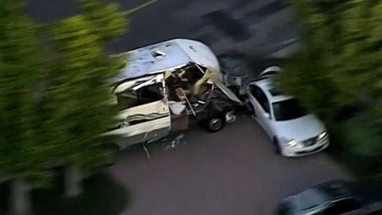 A stolen motorhome was chased by police near Los Angeles and hit two cars  before the female driver was arrested