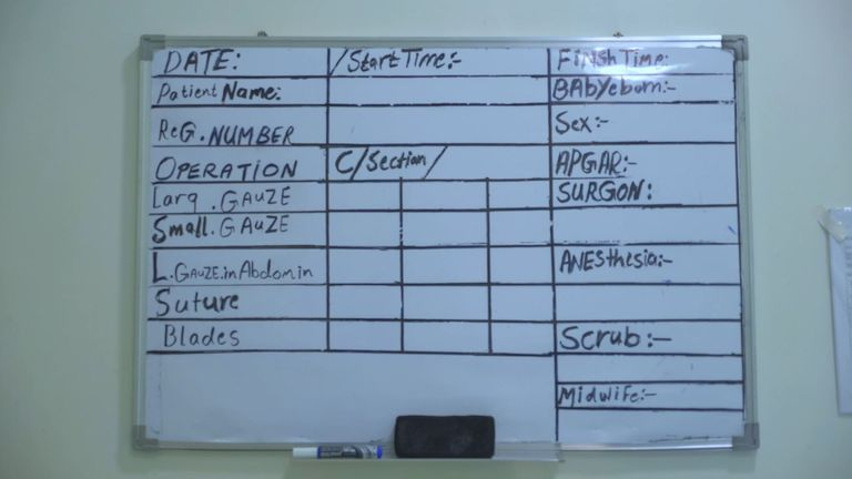 A hospital obstetrics ward board. Pic: MSF