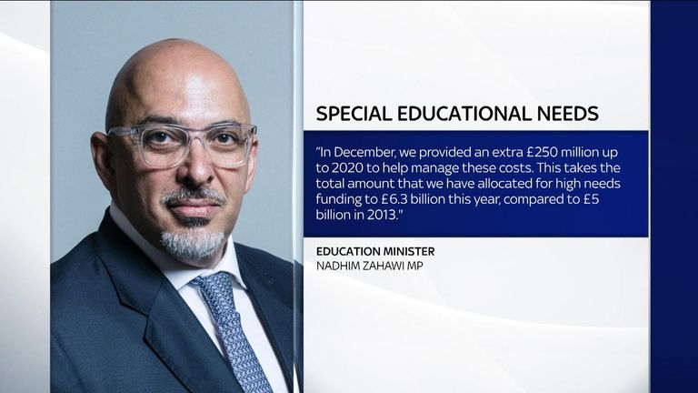Education Minister Nadhim Zahawi said the government provided an extra £250m up to 2020