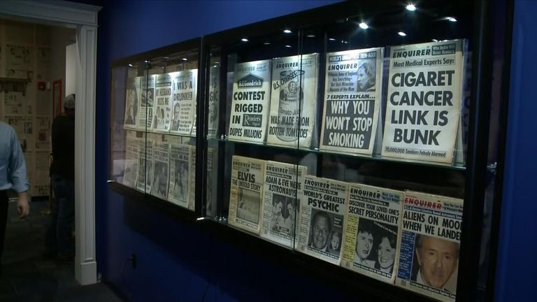 Visitors are invited to view exhibits dedicated to the National Enquirer's most famous reports