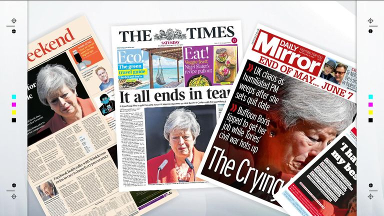 The front pages of Saturday's newspapers