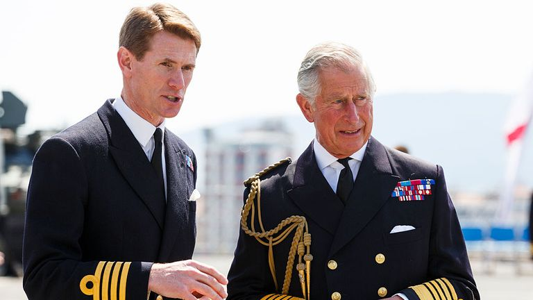 Prince Charles, Prince of Wales is met by Commanding Officer Captain Nick Cooke-Priest at a reception on HMS Bulwark where he met decendants of the Gallipoli campaign on April 24, 2015 in Seddulbahir, Turkey.