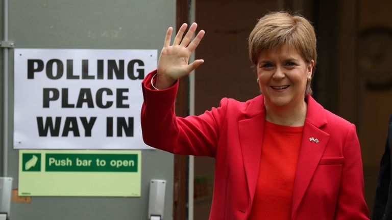 SNP leader Nicola Sturgeon leaving a polling station for the European Parliament elections