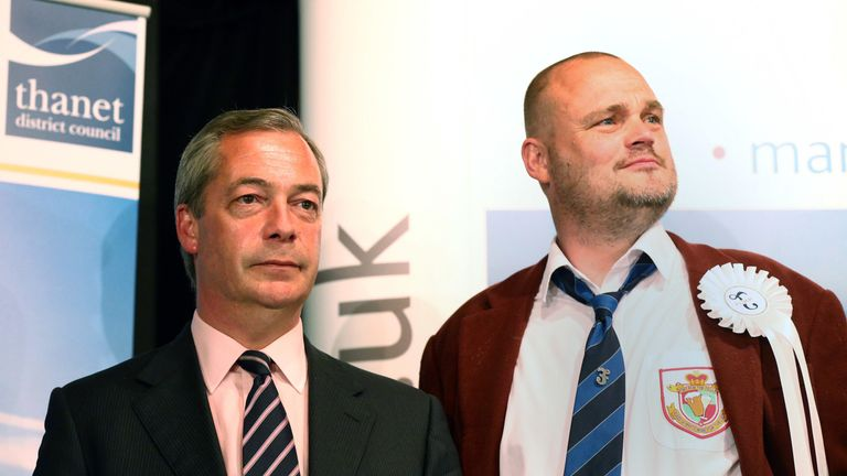 RAMSGATE, ENGLAND - MAY 08:  UKIP leader Nigel Farage (L) and Alastair James Hay, better known as comedian 'Al Murray' who portrays an English pub landlord, look on as Conservative Party candidate, Craig Mackinlay, is announced as the winner of the South Thanet constituency on May 8, 2015 in Ramsgate, England.