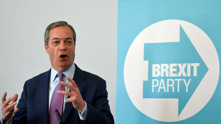 Brexit Party leader Nigel Farage speaks during a news conference in London