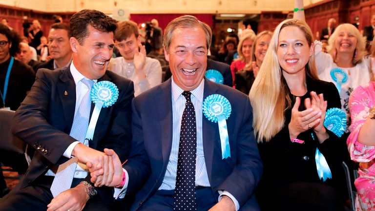 Brexit Party leader Nigel Farage reacts after the European Parliament election results for the South East are announced