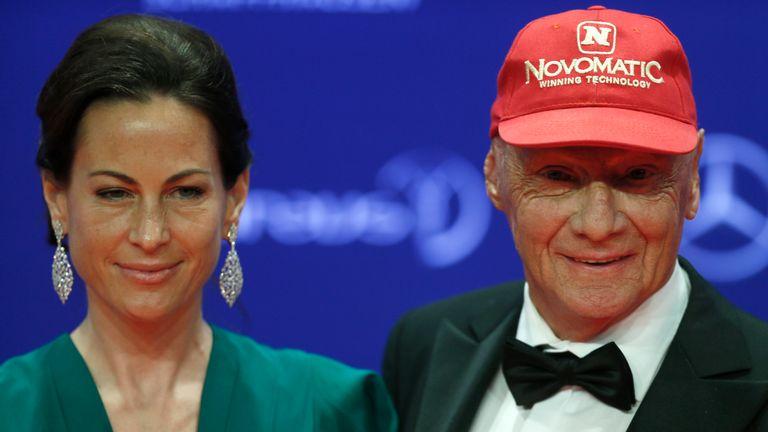 Lauda with his wife Birgit Wetzinger