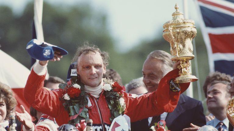 Lauda celebrates winning the British GP at Brands Hatch in 1982