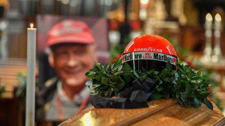Hamilton and Schwarzenegger among stars at Lauda's funeral