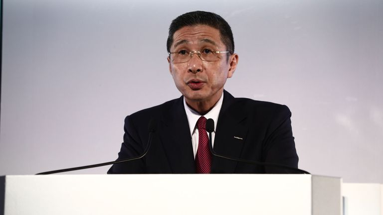 Nissan Motors president and CEO Hiroto Saikawa speaks during a press conference to announce the companys 2019 financial results at its headquarters in Yokohama on May 14, 2019