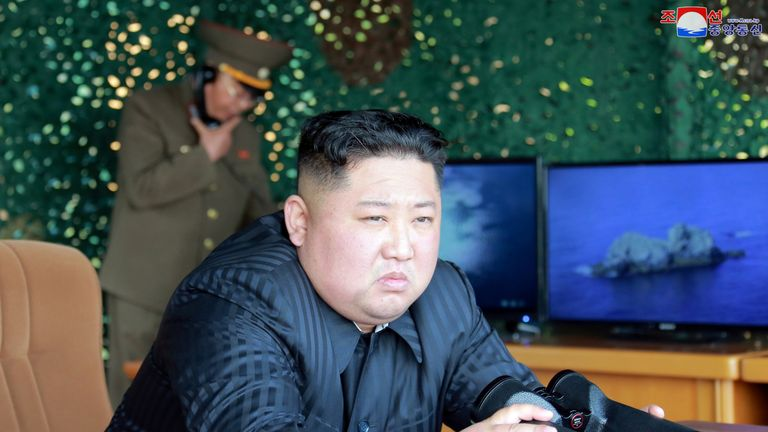 North Korea's leader Kim Jong Un supervises a 'strike drill' of short-range missiles