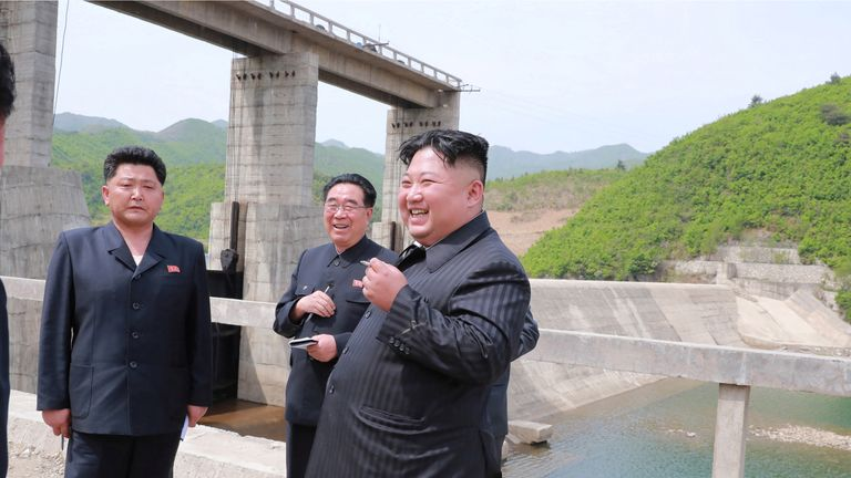 North Korean leader Kim Jong Un visits Kumyagang Power Station No. 2 in North Korea