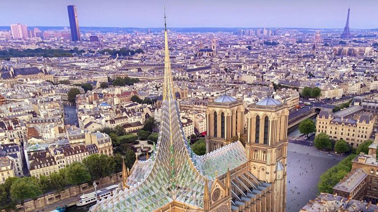 A proposal for the restoration for fire-ravaged Notre-Dame by French-Belgian architect Vincent Callebaut calls for a contemporary design including a roof garden