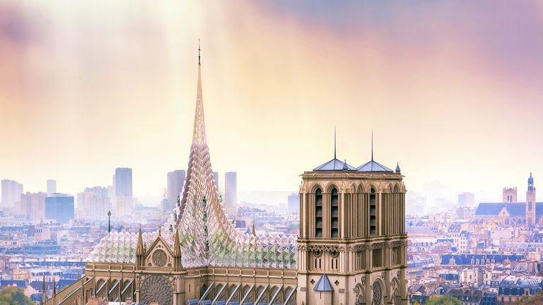 A vision of restored Notre-Dame cathedral by Vincent Callebaut Architectures