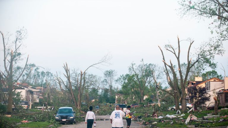 A street in Dayton, Ohio, is left decimated on Tuesday