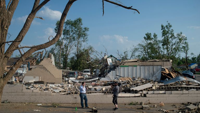A destroyed neighborrhood in north Dayton, Ohio, this week
