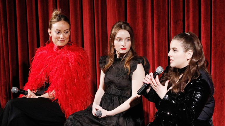"Actor, director and producer Olivia Wilde and actors Kaitlyn Dever and Beanie Feldstein on stage during The Academy of Motion Picture Arts and Sciences official Academy screening of ""Booksmart"" at the MoMA, Celeste Bartos Theater on May 21, 2019 in New York City.  (Photo by Lars Niki/Getty Images for The Academy Of Motion Picture Arts & Sciences)"
