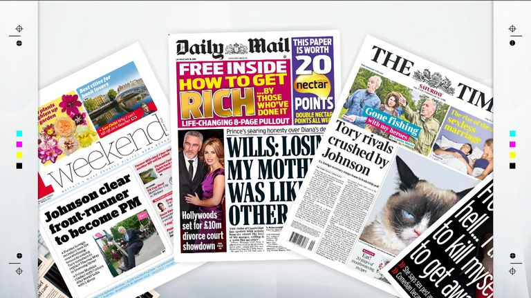 The front pages of the national papers on Saturday