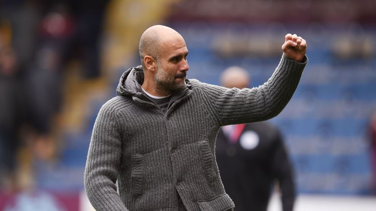 Manchester City boss Pep Guardiola has guided his team to the top of the table with 95 points with one game left