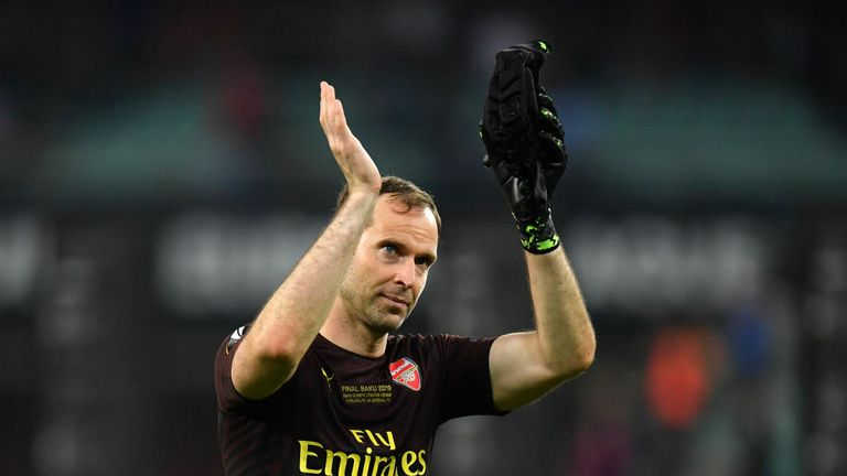 Former Chelsea shot-stopper Petr Cech was in goal for Arsenal