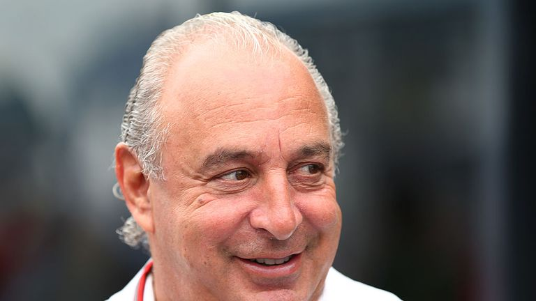sir Philip Green arrives during the Monaco Formula One Grand Prix at Circuit de Monaco on May 25, 2014 in Monte-Carlo, Monaco.