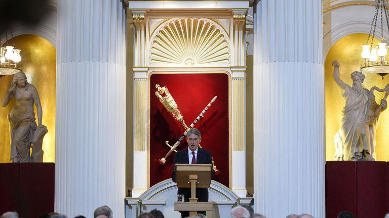 Philip Hammond speaks at Mansion House