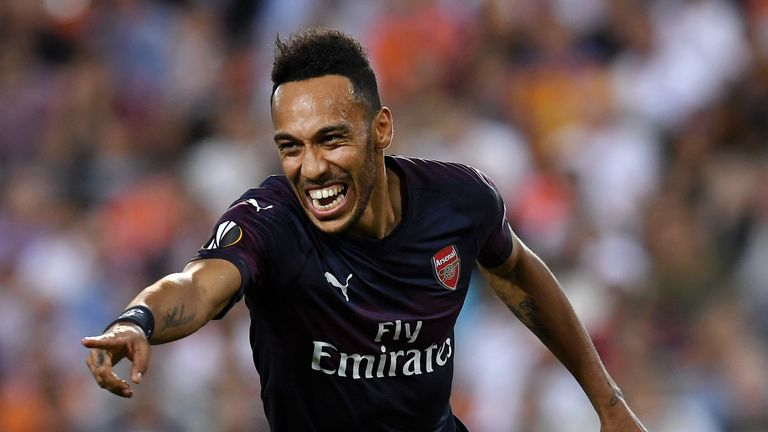 Pierre-Emerick Aubameyang celebrates after scoring Arsenal's first goal in Valencia