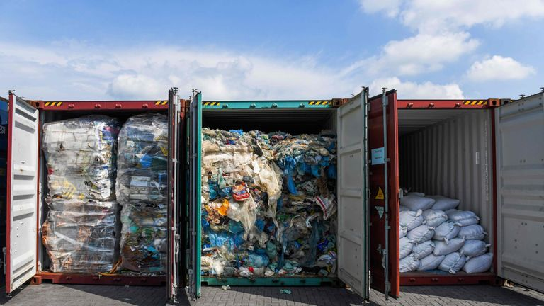 The containers of plastic waste will be sent back to where they came from
