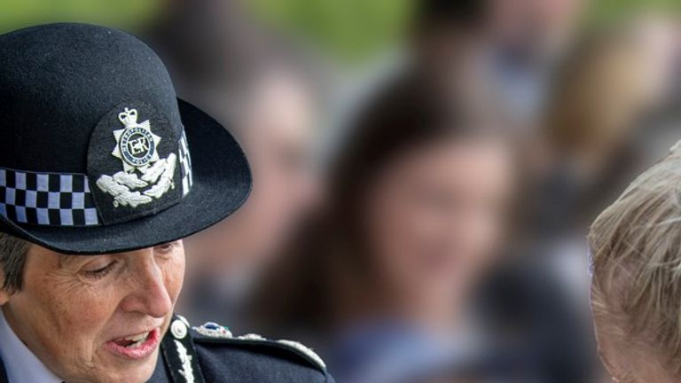 Commissioner Cressida Dick said it was 'an absolute pleasure' to meet the police dogs. Pic: Met Police