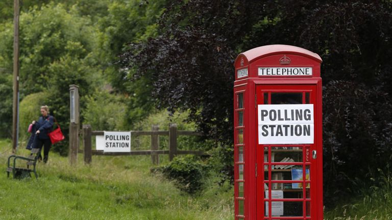 TOPSHOT - A polling station sign is seen on a telephone box outside the polling station at Rotherwick Hall, west of London, on June 8, 2017, as Britain holds a general election. / AFP PHOTO / Adrian DENNIS (Photo credit should read ADRIAN DENNIS/AFP/Getty Images)