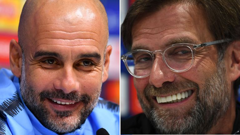 Pep Guardiola of Manchester City (L) and Liverpool's Jurgen Klopp can both win the Premier League title on the final day