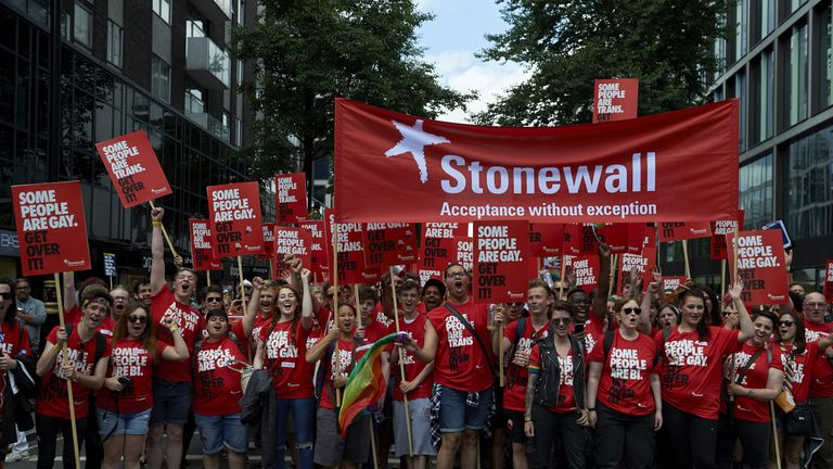 Stonewall members, who work for equality and justice for lesbians, gay men and bisexuals, at Pride Parade