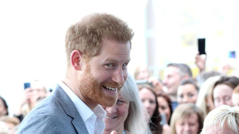 Prince Harry, Duke of Sussex arrives for a visit to the Oxford Children's Hospital
