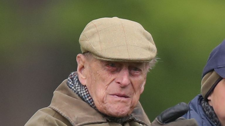 The Duke of Edinburgh watching Lady Louise Windsor in the Adelaide Arena during the Royal Windsor Horse Show