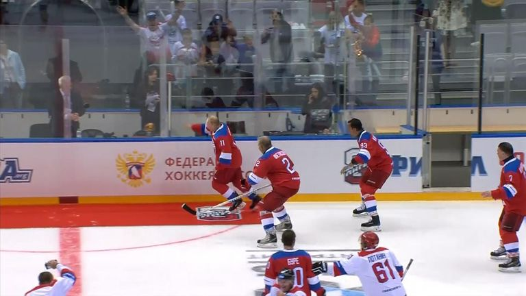 The Russian leader earlier scored eight goals during the exhibition match which has become an annual tradition