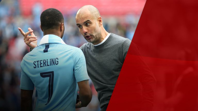 Manchester City's Raheem Sterling (left) and manager Pep Guardiola (right)
