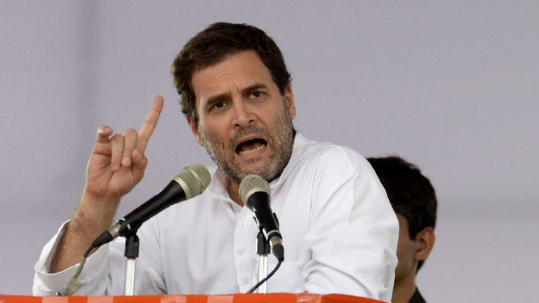 Indian Congress party president Rahul Gandhi addresses a public meeting at Saroornagar Stadium in Hyderabad on August 14, 2018. - Gandhi is on a two-day visit to the capital city of Southern Indian State of Telangana. (Photo by NOAH SEELAM / AFP) (Photo credit should read NOAH SEELAM/AFP/Getty Images)