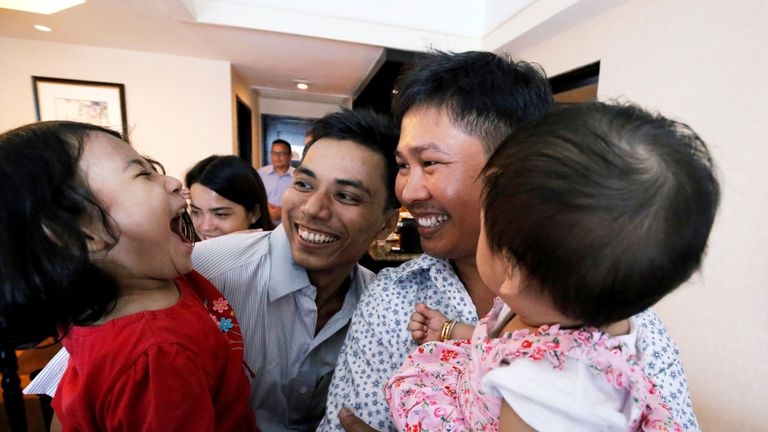 Reuters reporters Wa Lone and Kyaw Soe Oo celebrate with their children